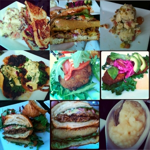 SAGE BISTRO! Top Row: Bistro Po' Boy with German Potato Salad, Close up of the Po' Boy, Close up of the Potato Salad. Middle Row: Root Vegetable Tacos, Mac and Cheese Ball, Quinoa Corn Cake. Bottom Row: Pesto Croissant Club Sandwich, Close up of the sandwich, Mashed Potatoes.  Photo credit: SuperVegan. Photo by: Andrea Wachner.