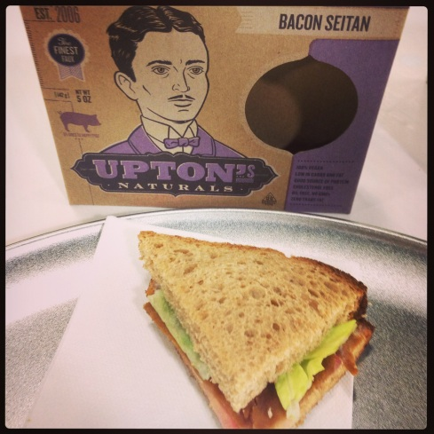 It was hard to taste the seitan the way it was presented. I mostly tasted bread and lettuce, and I should have removed the seitan from the sandwich to try it on its own.