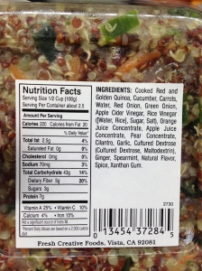 Quinoa ingredients