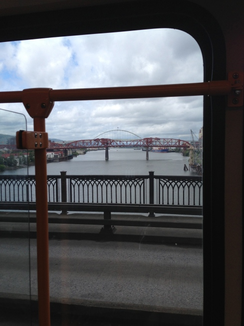 I took this photo with a phone from inside a train on a bridge!