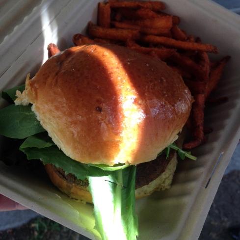 "Mother Trucker Vegan Burger. I mean ""Vegan"" Burger."