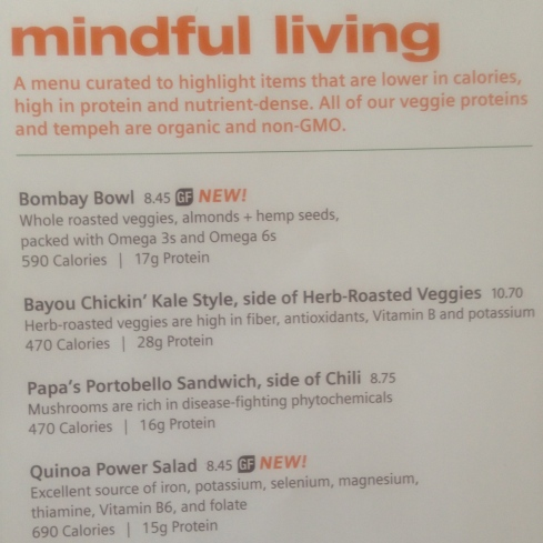 Mindful living menu